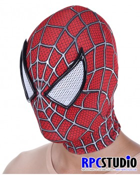 RED-BLUE MASK WITH 3D WEBBING PUFFY PAINT