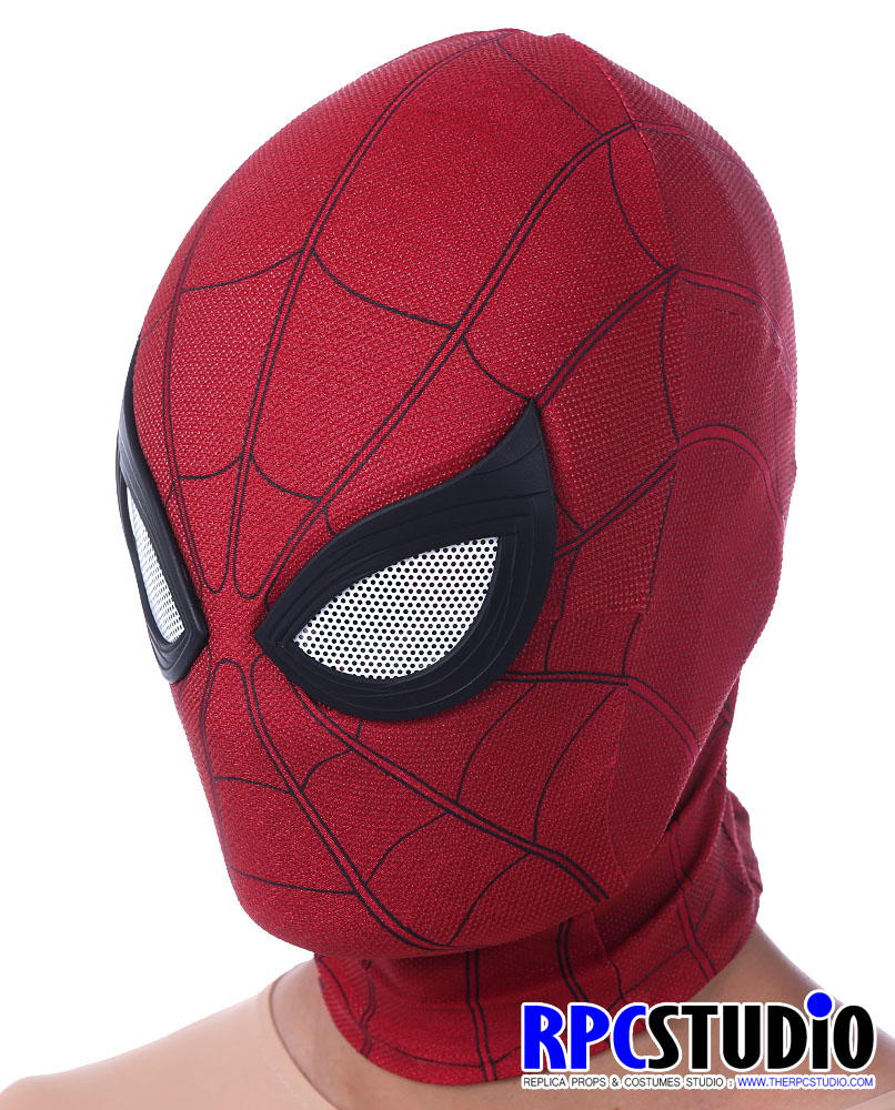 Far From Home Homecoming SpiderMan Mask Black Faceshell with Lenses Cosplay Prop